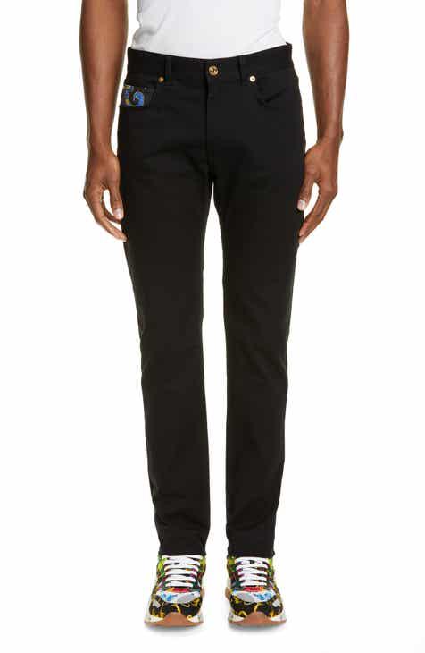 Versace Floral Detail Slim Fit Jeans