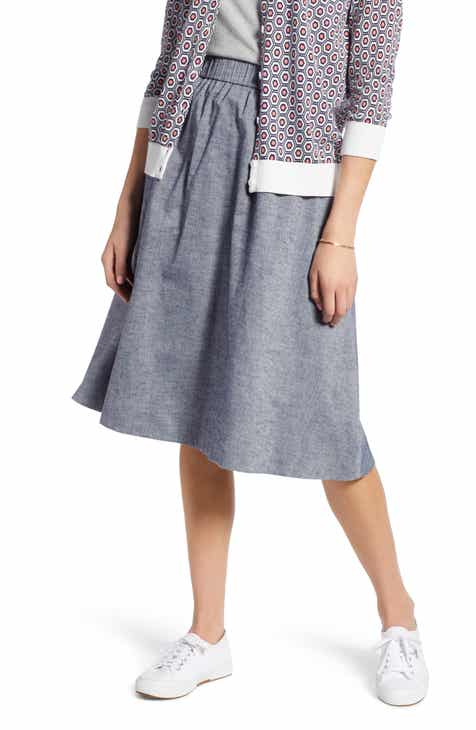 1901 Pull-On Chambray Skirt (Regular & Petite) By 1901 by 1901 Savings