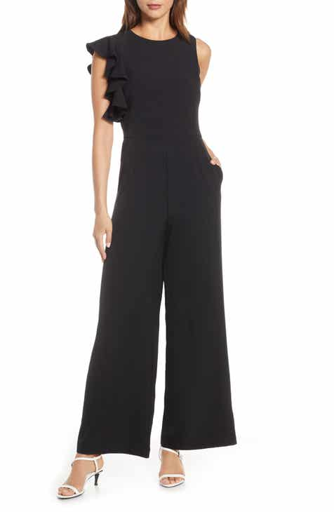 4e9151b9376 Julia Jordan Hunter Crepe Ruffle Shoulder Jumpsuit