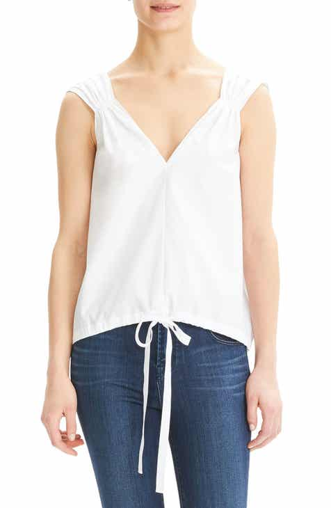 Theory Tie Waist Sleeveless Cotton Top