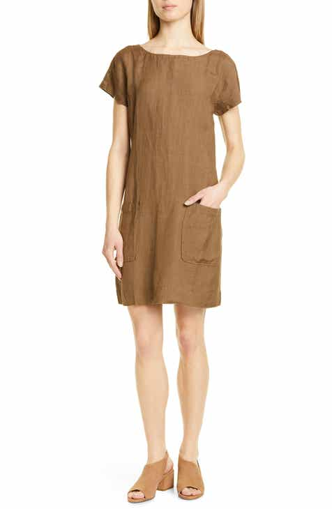 Eileen Fisher Bateau Neck Linen Blend Shift Dress (Regular & Petite)