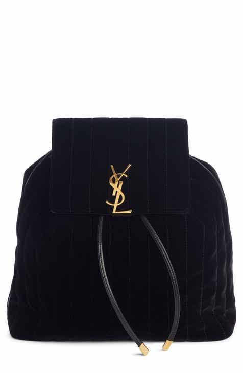 f4a2cfc27 Saint Laurent Vicky Quilted Velvet Backpack