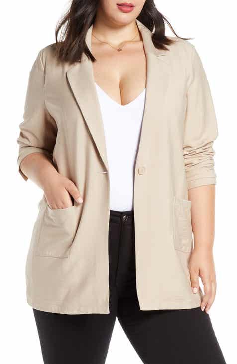 Leith Single Button Blazer (Plus Size) by LEITH