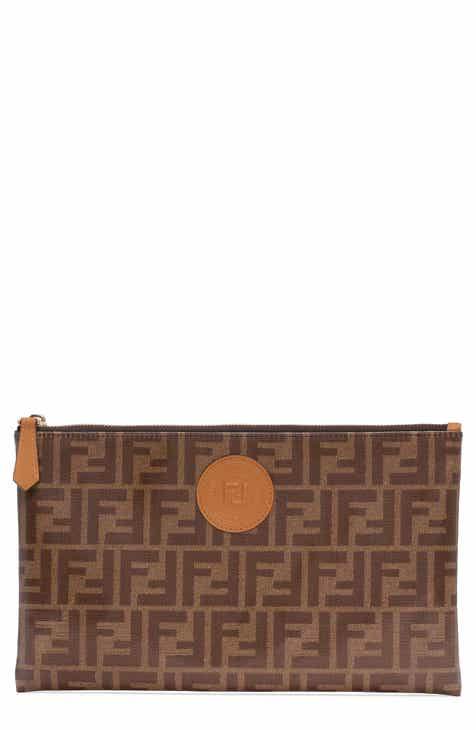 6f3998b1eb7b4 Fendi Large Busta Logo Canvas Zip Pouch