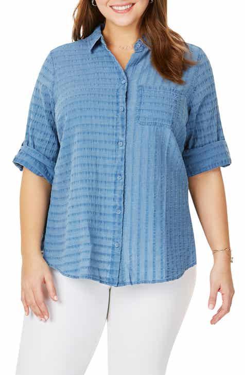 Foxcroft Zen in Indigo Shirt (Plus Size)