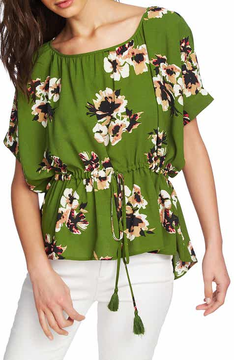 1.STATE Floral Print Cinched Waist High/Low Top