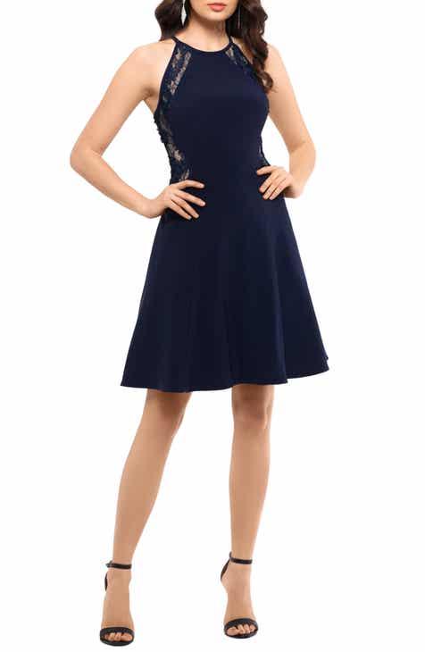 Xscape Lace & Scuba Crepe Fit & Flare Party Dress