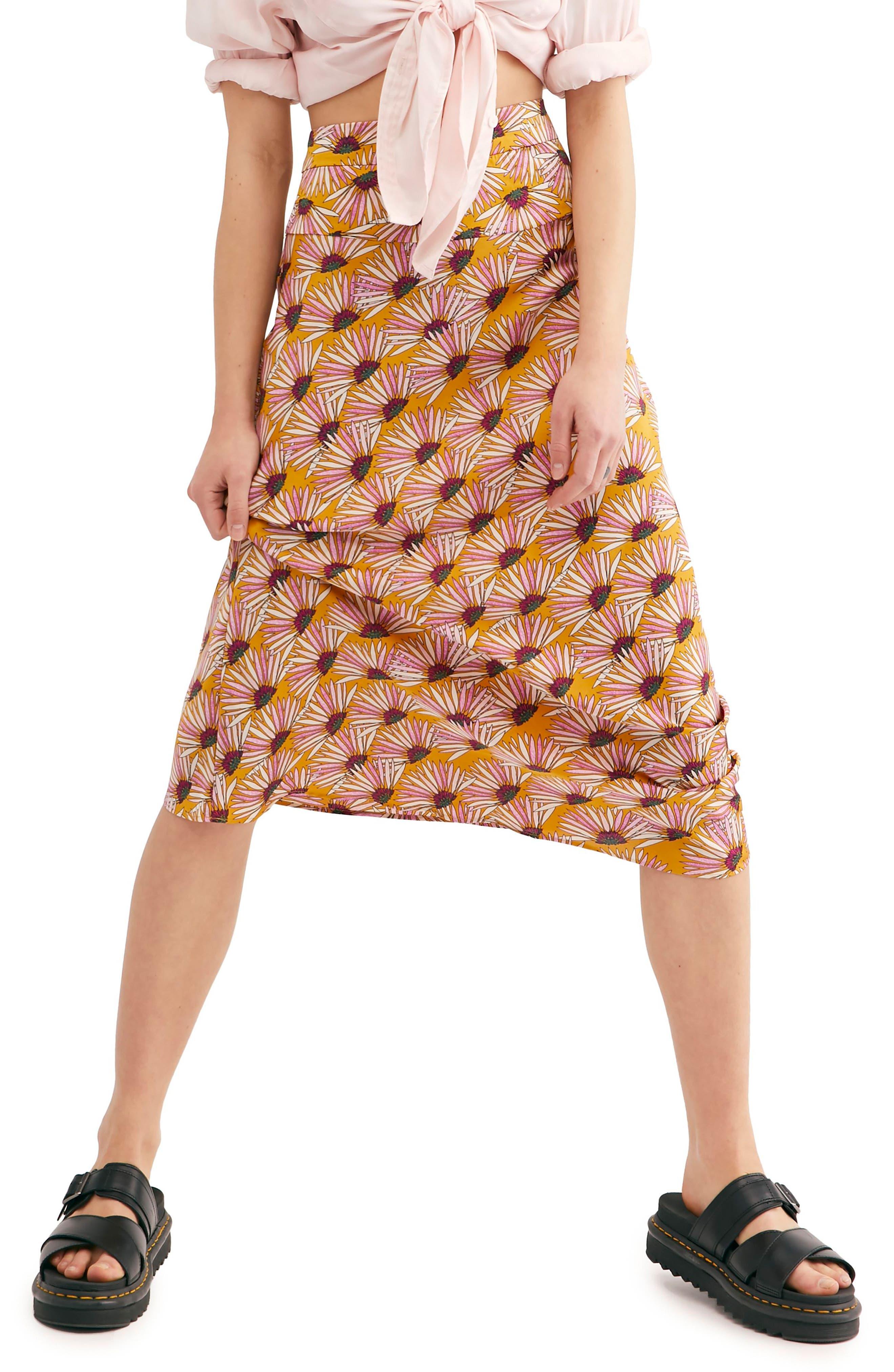 Clothing, Shoes & Accessories Skirts Womens Free People Geometric Print Skirt 4 Small Black Boho