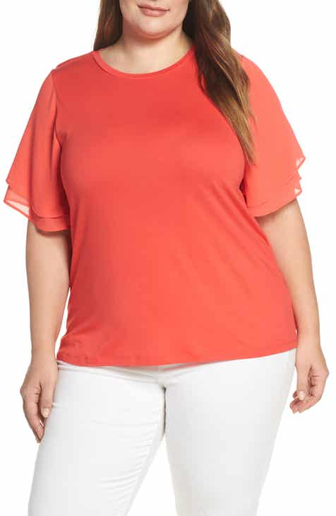 77f6d0ead6d9dc MICHAEL Michael Kors Mix Media Flutter Sleeve Cotton Blend Tee (Plus Size)