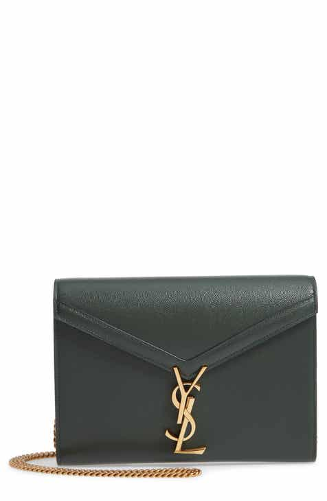 4742482e3e9107 Saint Laurent Cassandra Leather Wallet on a Chain