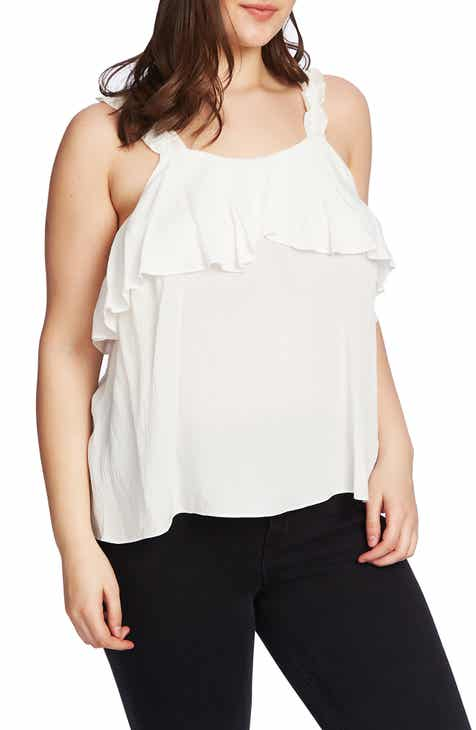 8bbd09b7b9a 1.STATE Ruched Strap Flounce Edge Camisole (Plus Size)