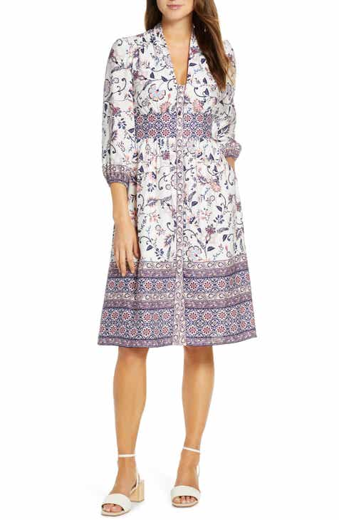 8abd59b9e609 Eliza J Floral Button Front Linen Blend Shirtdress