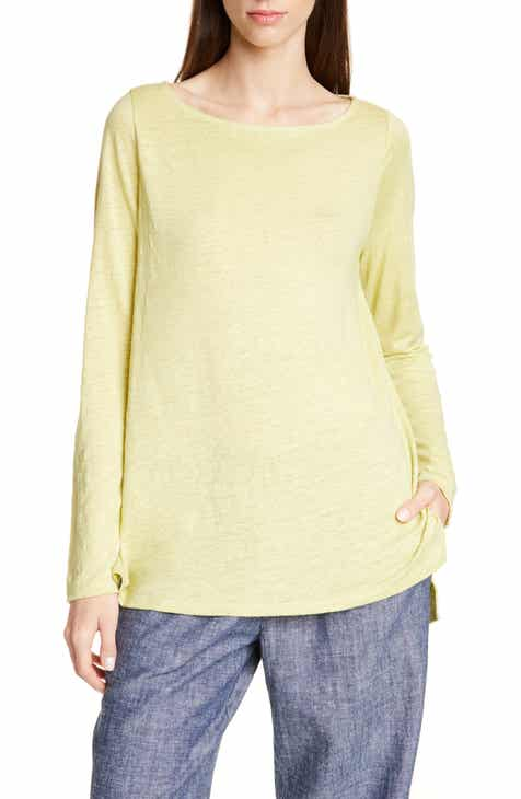 4ae5418cb30a17 Eileen Fisher Drop Tail Hem Organic Linen Tunic (Regular & Petite)
