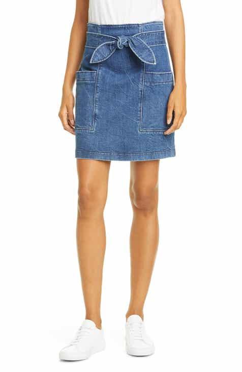 79246978d La Vie Rebecca Taylor Knotted Denim Miniskirt