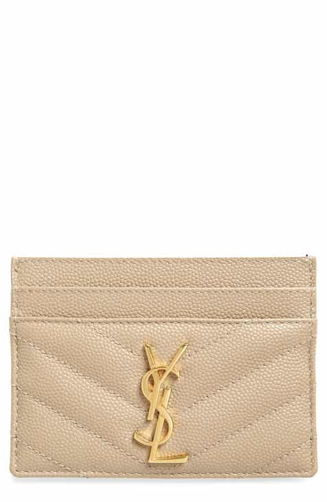 a19661e777a Saint Laurent Monogram Quilted Leather Credit Card Case
