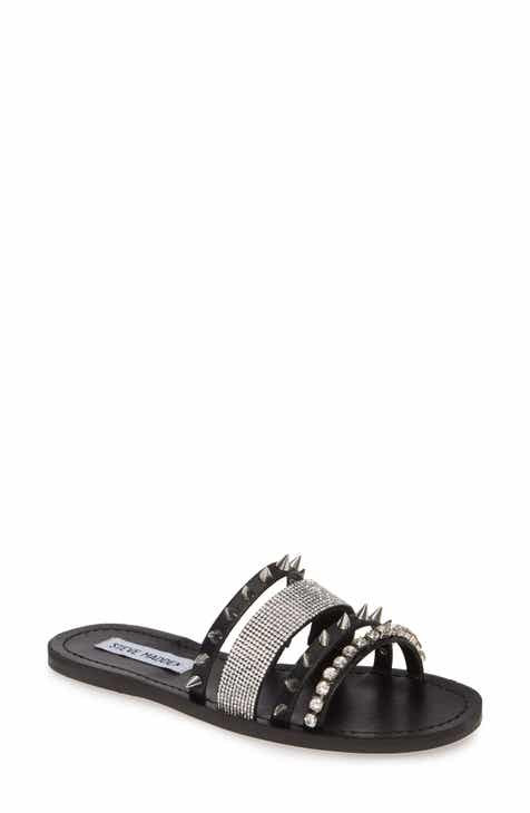 0fb328c20768fb Steve Madden Lindy Spike & Crystal Slide Sandal (Women)