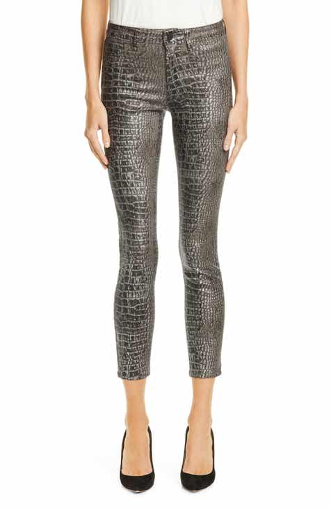 5704ea19ee80a7 L'AGENCE Margot Metallic Coated Crop Skinny Jeans (Silver Foil)