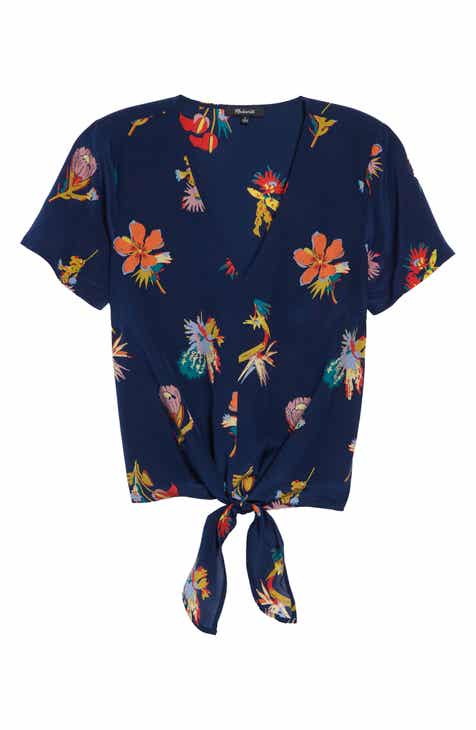 Madewell Bird of Paradise Tie Front Silk Top