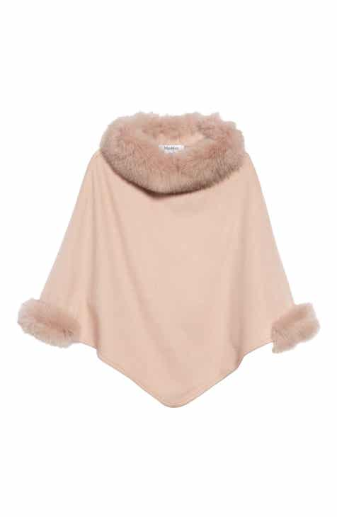 7a0bc0b183267d Max Mara Cashmere Poncho with Genuine Fox Fur Trim
