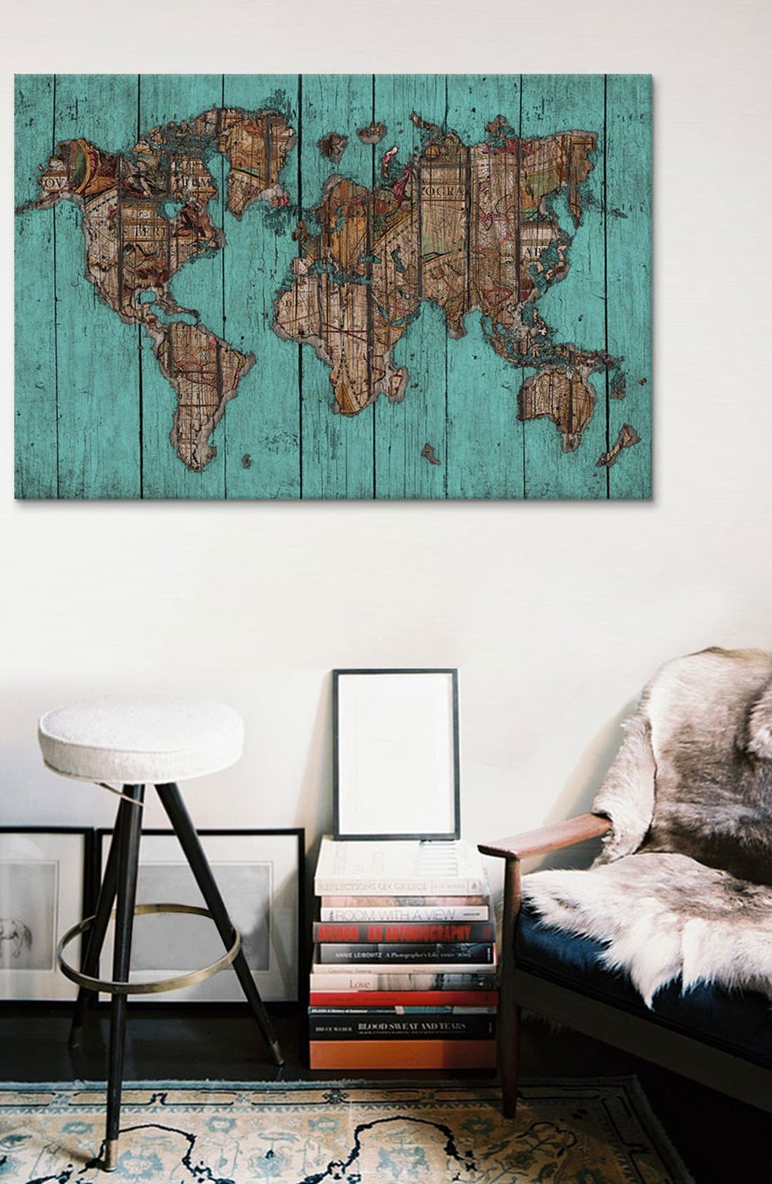 'Wood Map #2 - Diego Tirigall' Giclée Print Canvas Art,                             Alternate thumbnail 2, color,                             Blue/ Green