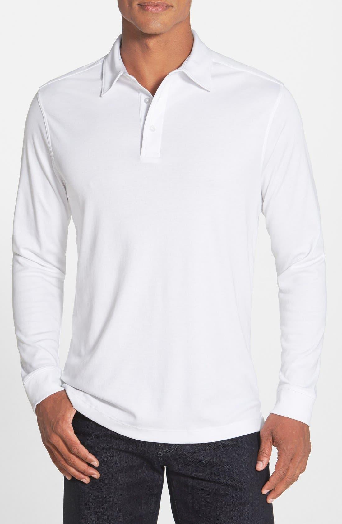 'Belfair' Pima Cotton Polo,                             Main thumbnail 1, color,                             White