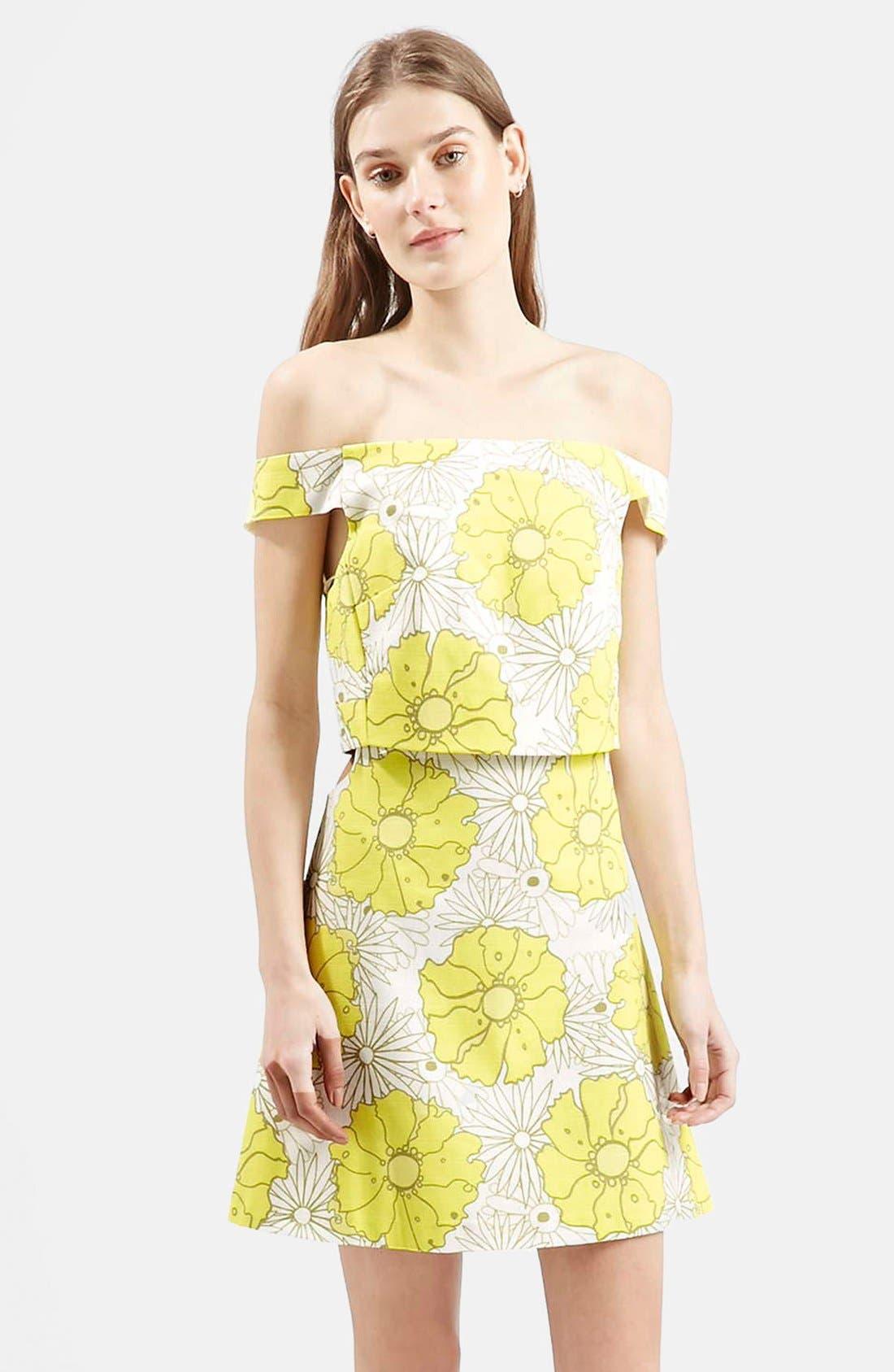 Main Image - Topshop 'Abigail' Floral Print Off the Shoulder Dress