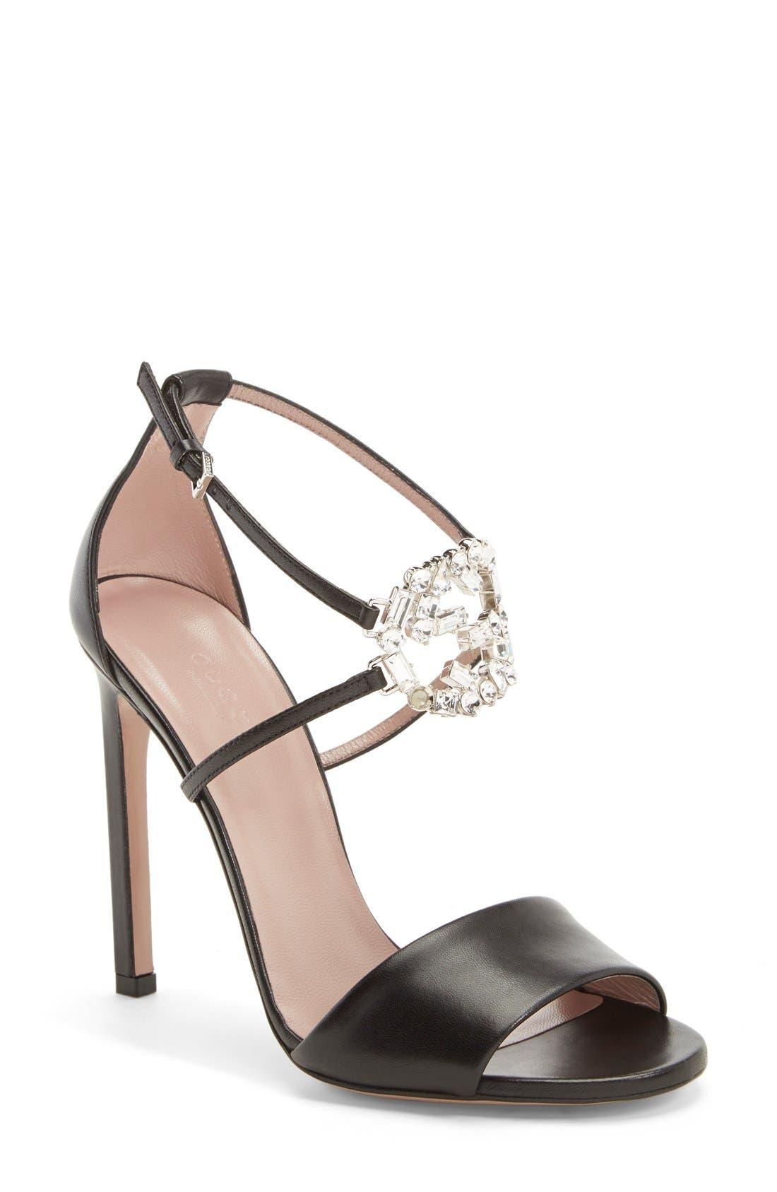 Alternate Image 1 Selected - Gucci 'GG' Logo Ankle Strap Sandal (Women)