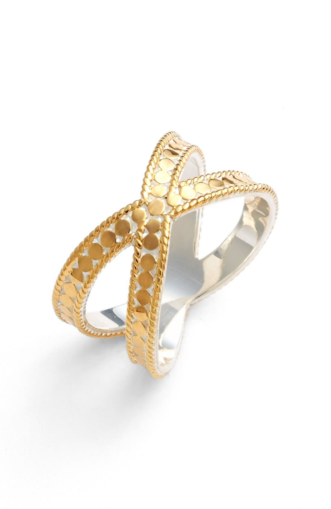 'Gili' Crossover Ring,                             Main thumbnail 1, color,                             Gold/ Silver