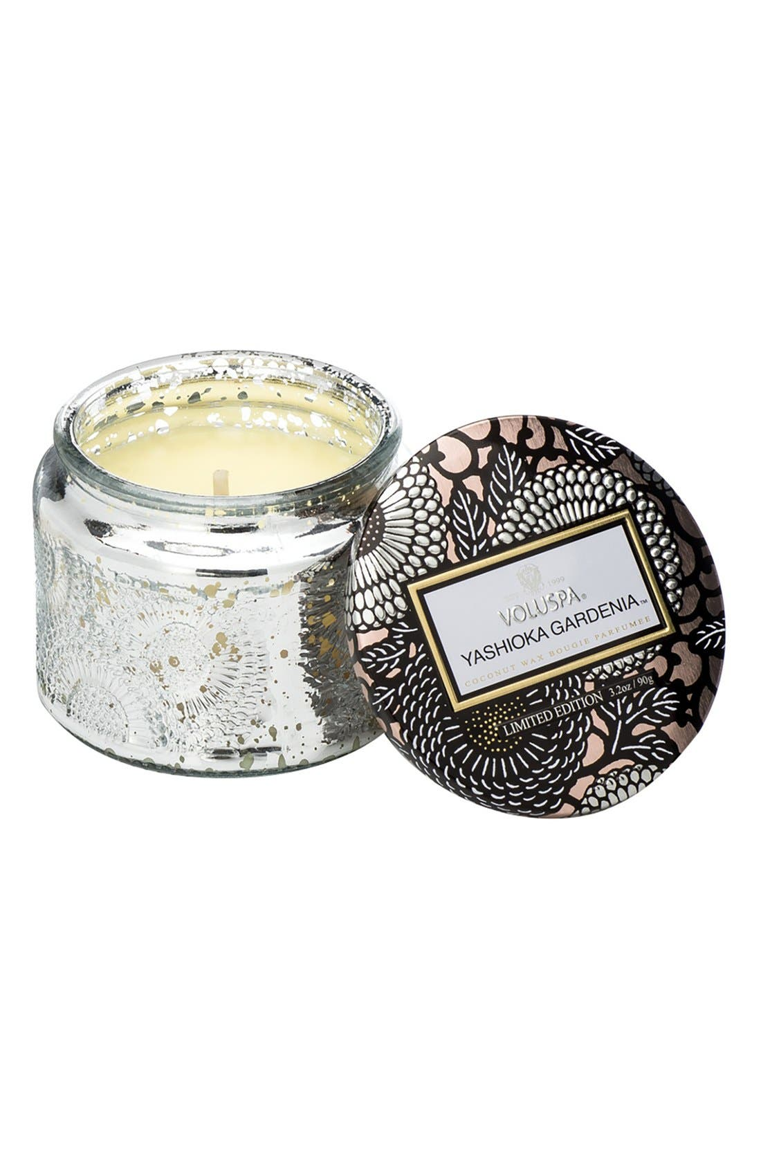 Voluspa 'Japonica - Yashioka Gardenia' Petite Embossed Glass Jar Candle (Limited Edition)