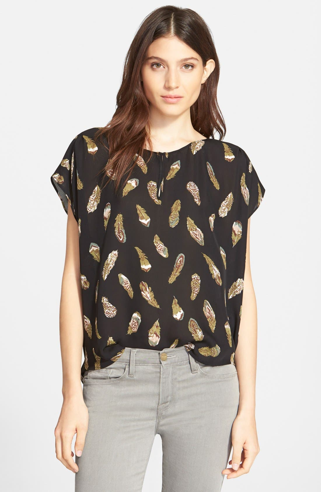 'Lamia' Feather Print Silk Top,                             Main thumbnail 1, color,                             Caviar