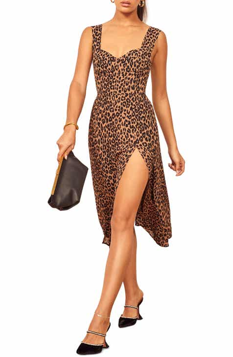 Reformation Fulton Leopard Print Sleeveless Dress