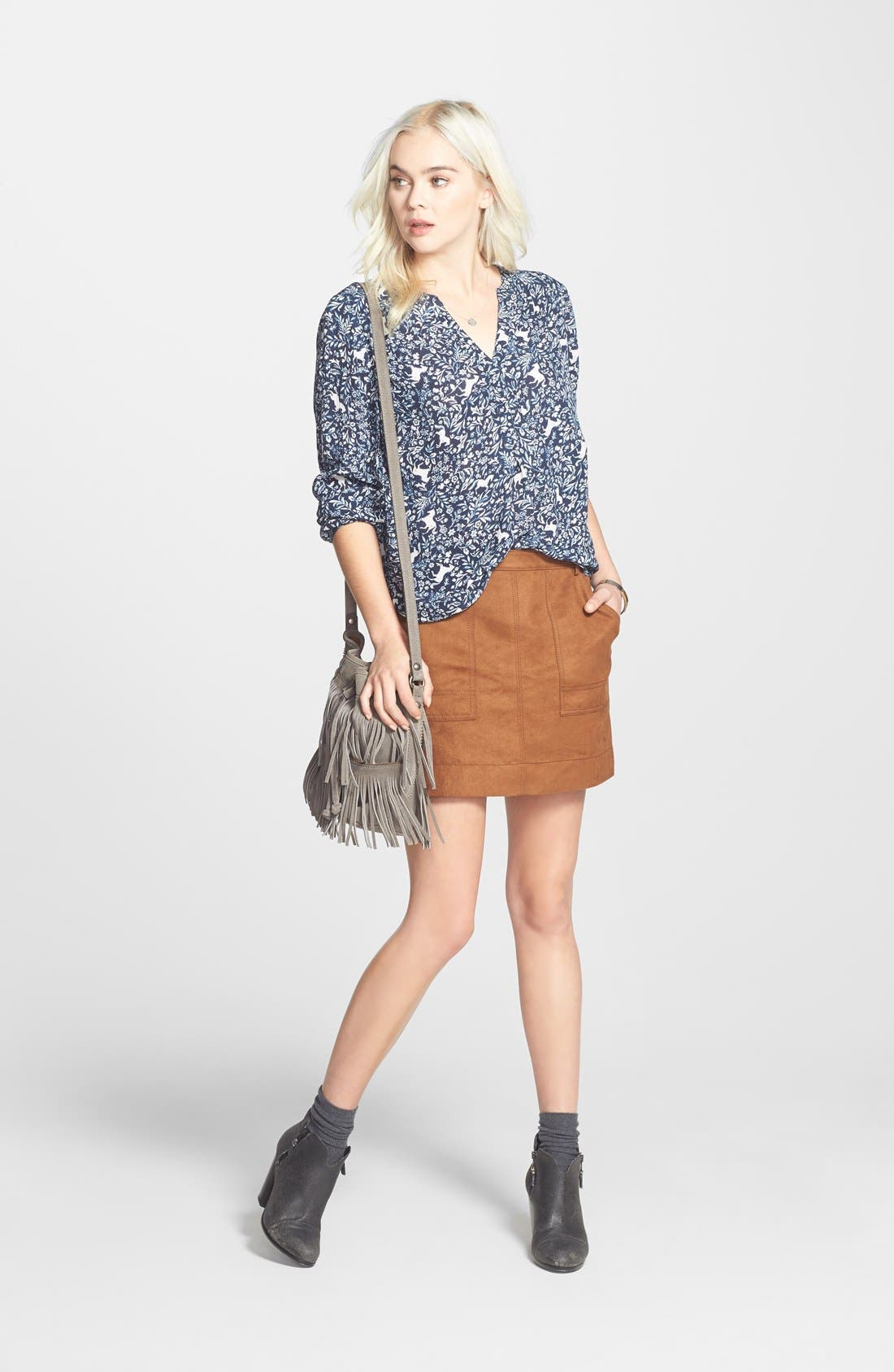 Faux Suede A-Line Miniskirt,                             Alternate thumbnail 2, color,                             Brown Toffee