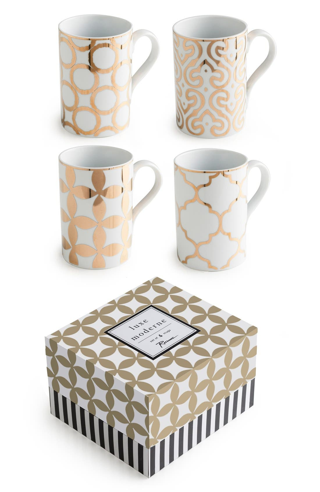 'Luxe Moderne' Coffee Mugs,                             Main thumbnail 1, color,                             White