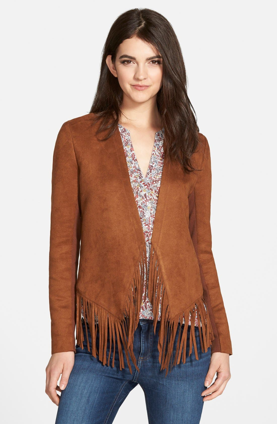 Fringe Faux Suede Jacket,                             Main thumbnail 1, color,                             Brown Toffee