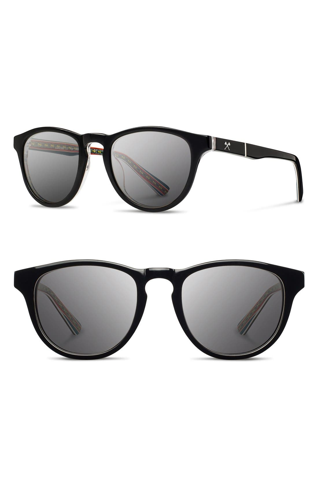 'Francis - Pendleton' 48mm Polarized Sunglasses,                         Main,                         color, Black/ Turquoise Serape/ Grey