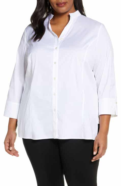 Ming Wang Button Front Shirt (Plus Size)