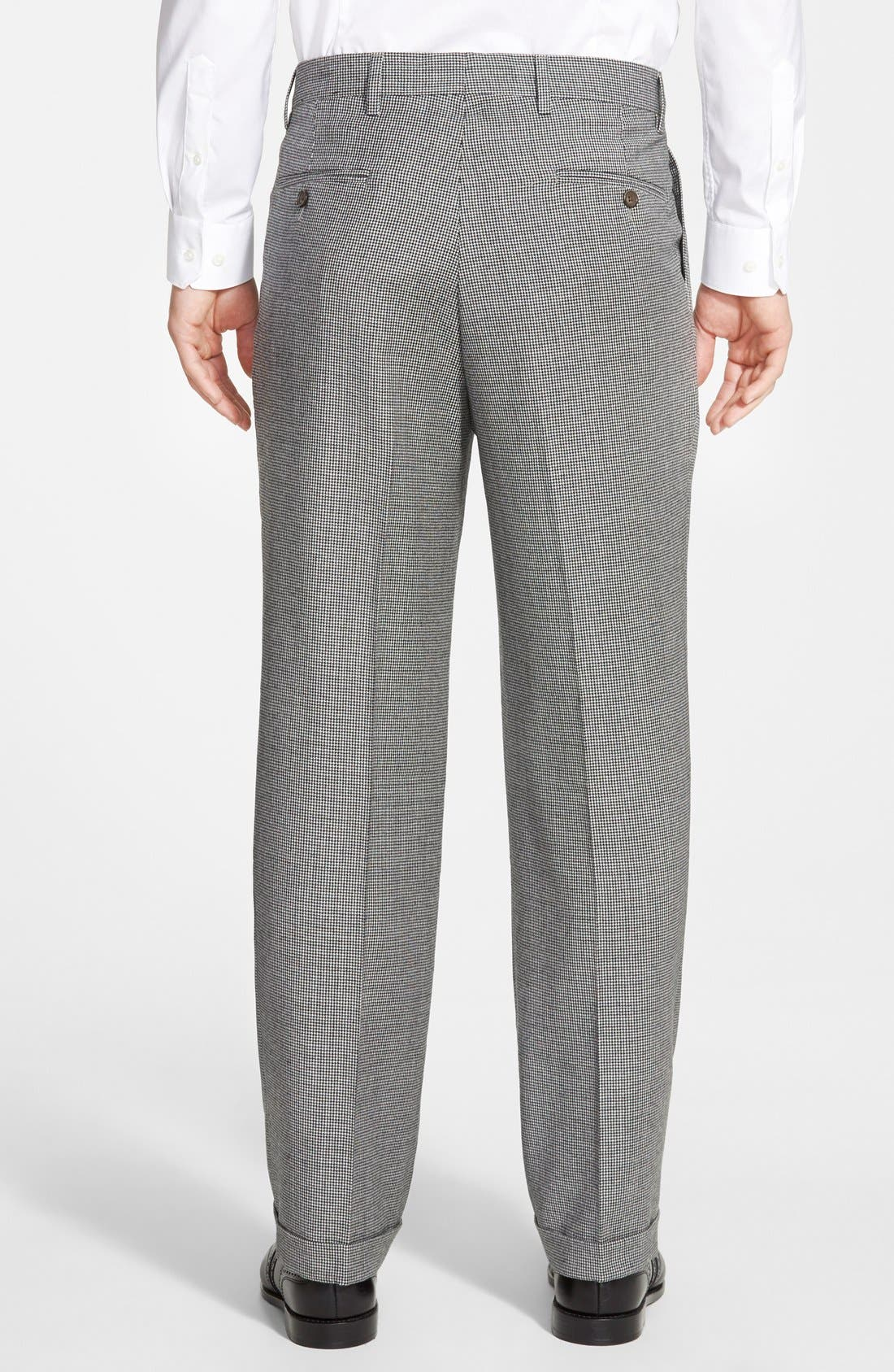 Pleated Houndstooth Wool Trousers,                             Alternate thumbnail 3, color,                             Charcoal