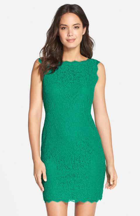 Adrianna Papell Boatneck Lace Sheath Dress Regular Pee