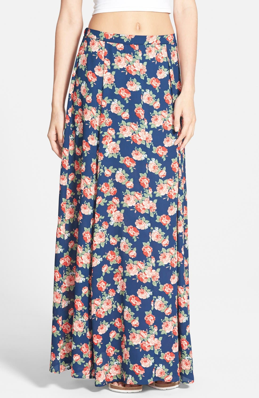 Alternate Image 1 Selected - Lily White Floral Print Maxi Skirt (Juniors)