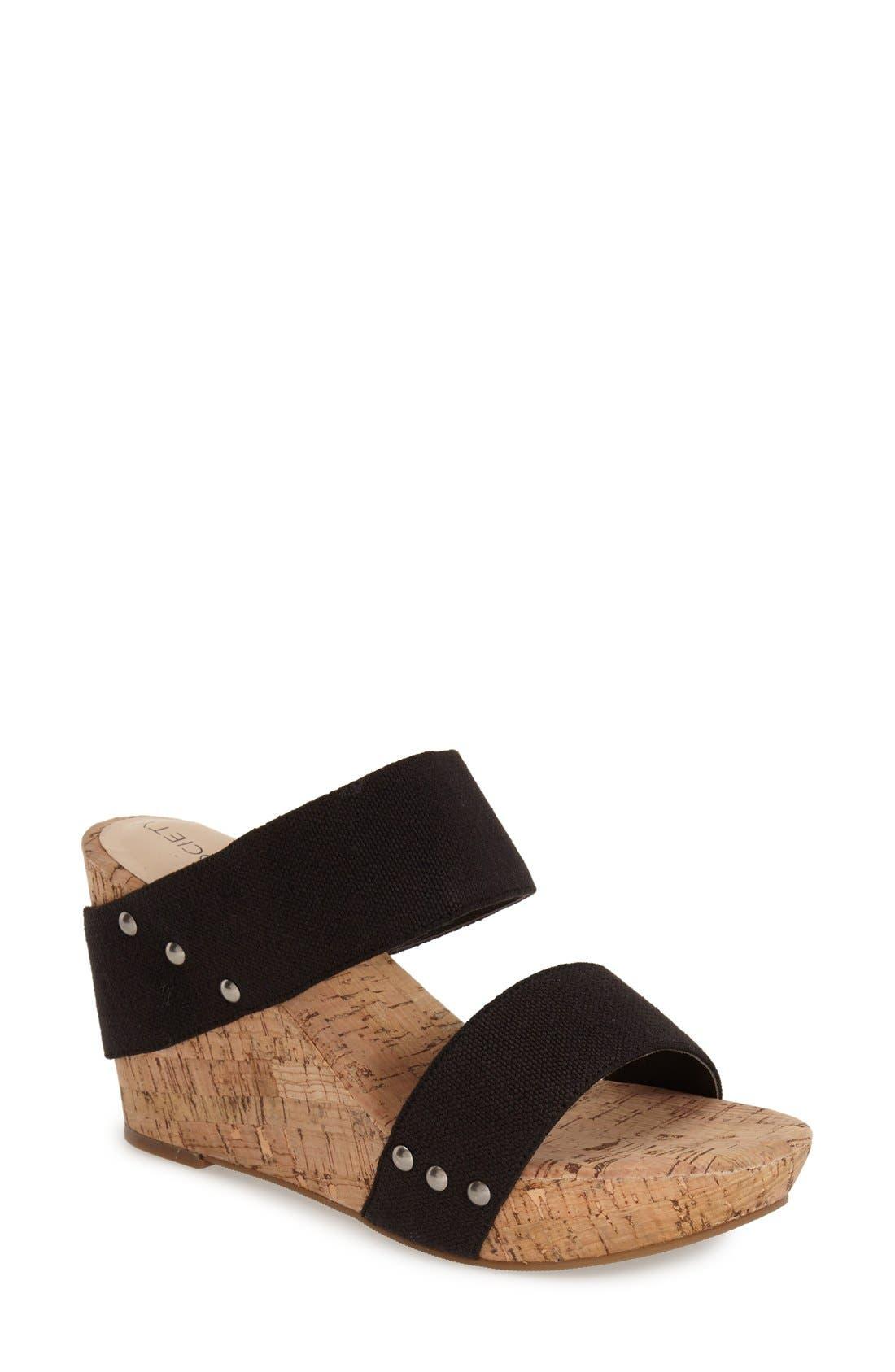 'Emilia 2' Wedge Sandal,                             Main thumbnail 1, color,                             Black