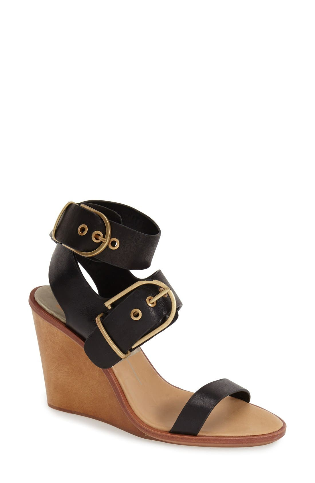 'Julissa' Wedge Sandal,                             Main thumbnail 1, color,                             Black