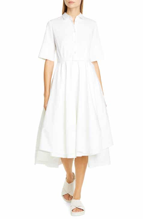 Co Belted Cotton Fit & Flare Shirtdress