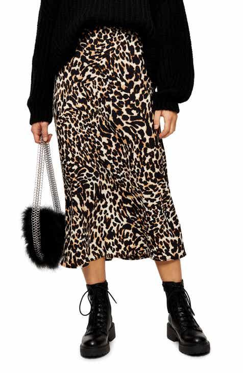 Topshop Leopard Print Bias Cut Midi Skirt (Petite)