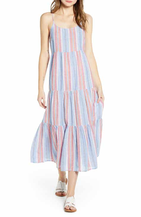 beachlunchlounge Lana Stripe Linen & Cotton Tiered Midi Sundress