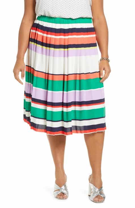 Halogen® Pleated Midi Skirt (Plus Size)