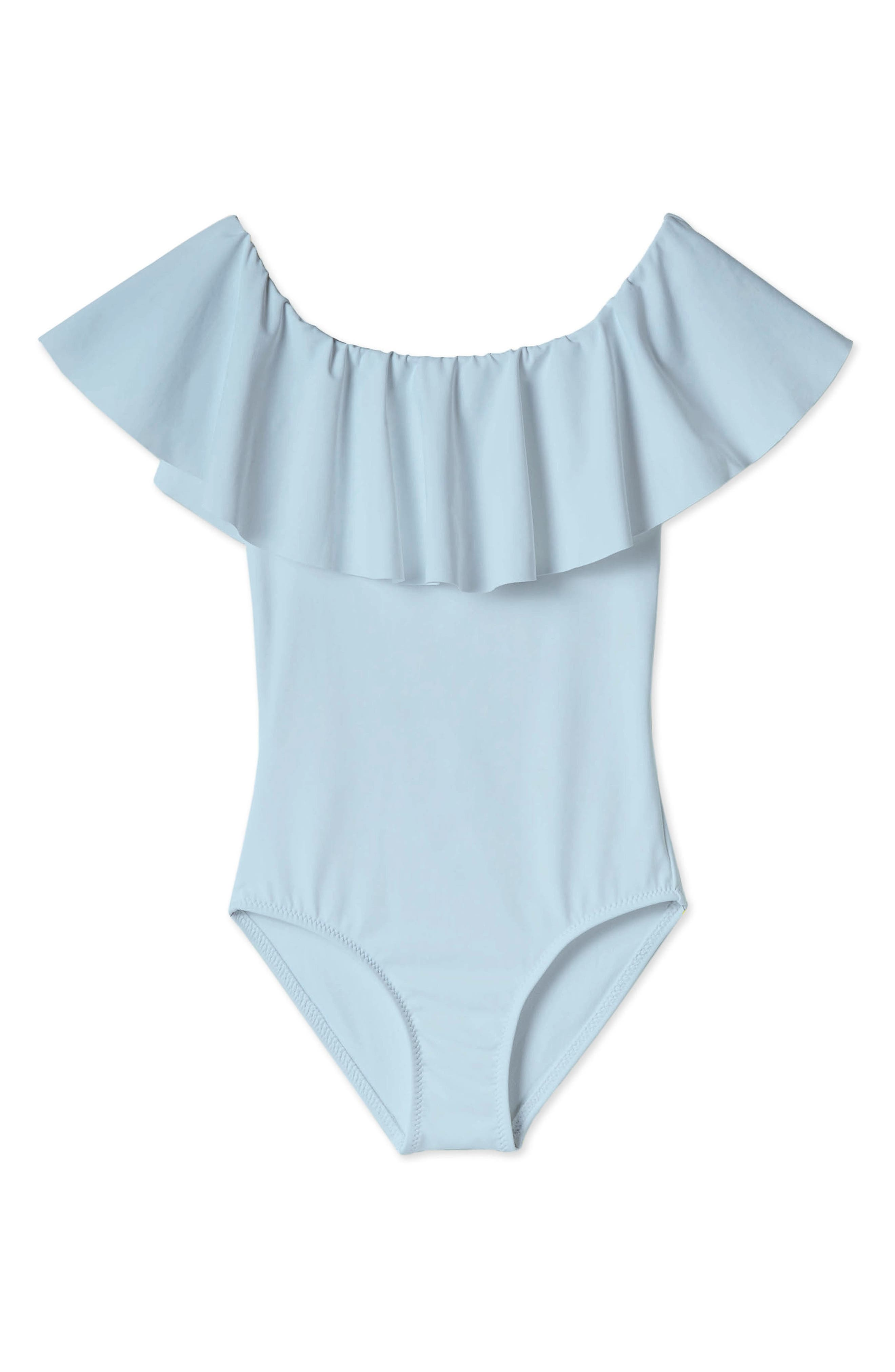 Light Blue Open Back Swimsuit for Girls With Matching Head Wrap
