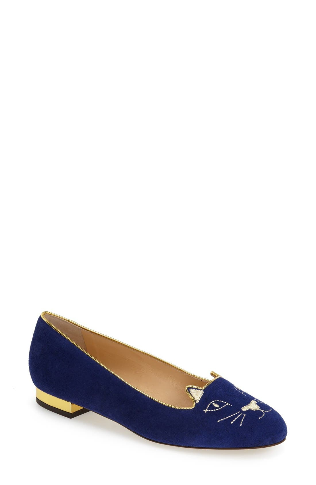 Alternate Image 1 Selected - Charlotte Olympia 'Kitty' Suede Flat (Nordstrom Exclusive)