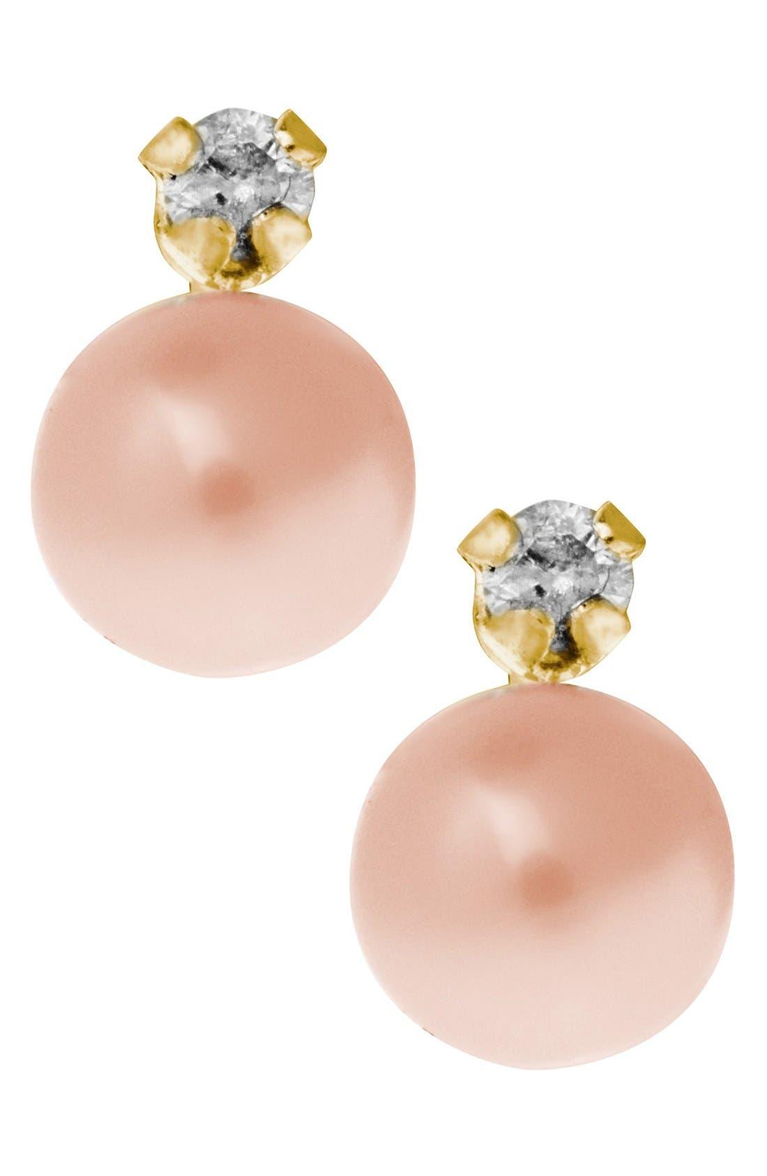 Mignonette 14k Gold Pearl & Diamond Stud Earrings (Girls)