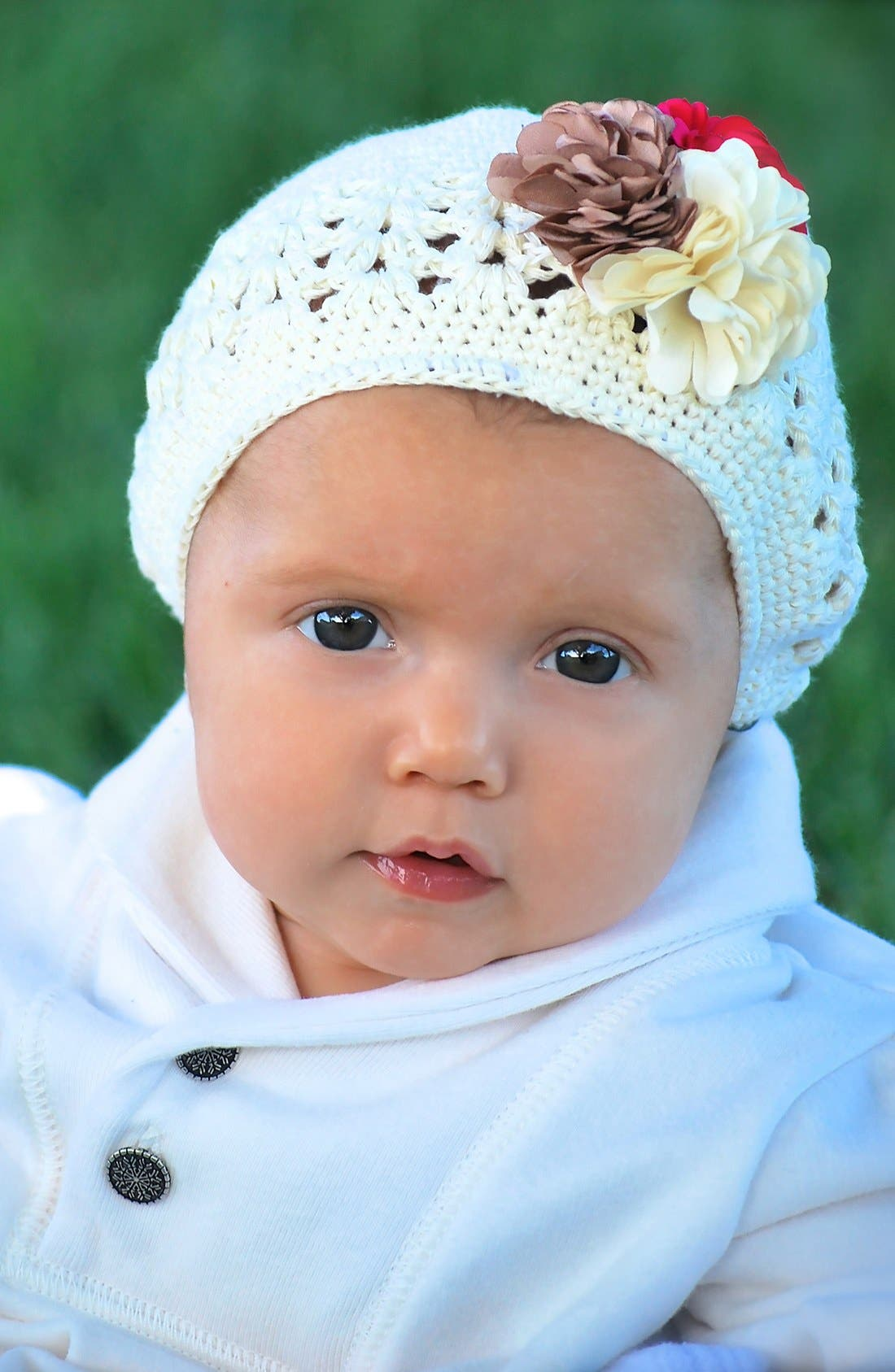 Alternate Image 2  - PLH Bows & Laces Crochet Hat (Baby Girls)