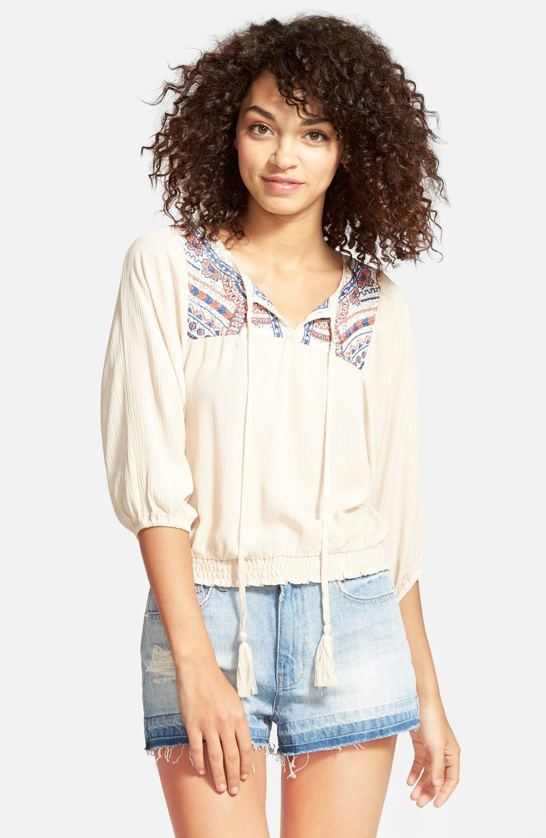 Main Image - Flying Tomato Embroidered Peasant Top (Juniors)